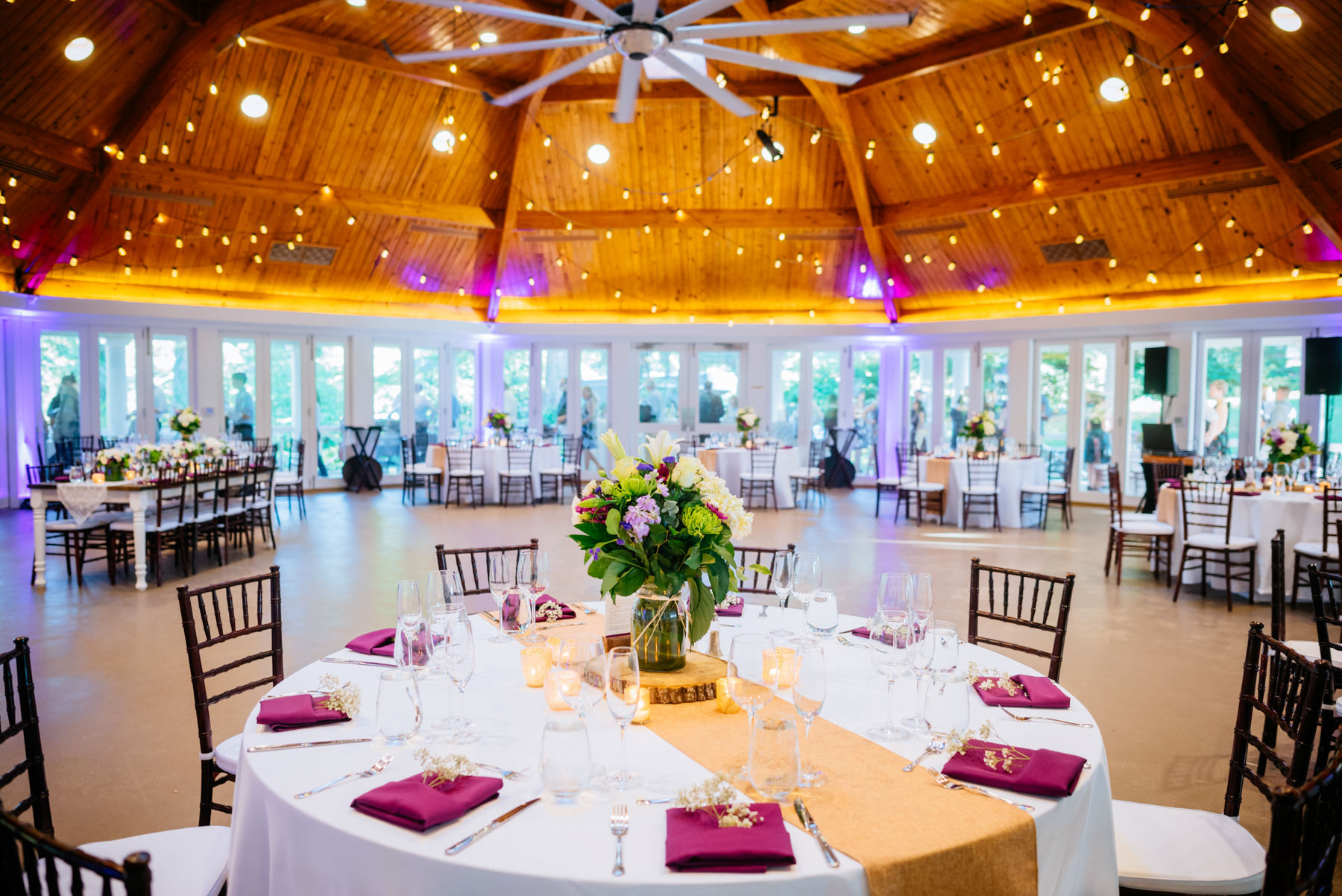 wedding reception area at airlie