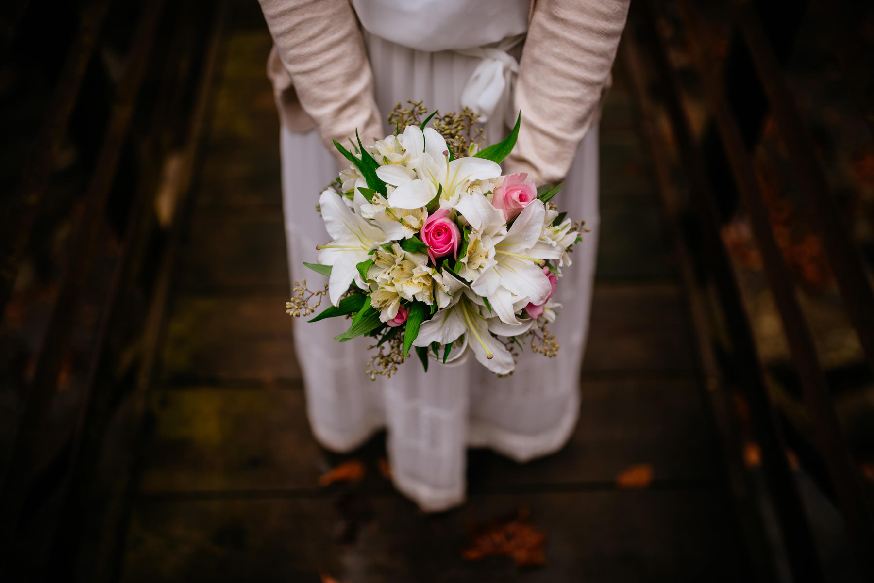 bridal bouquet on bridge