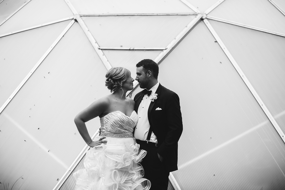 creative black and white wedding portrait