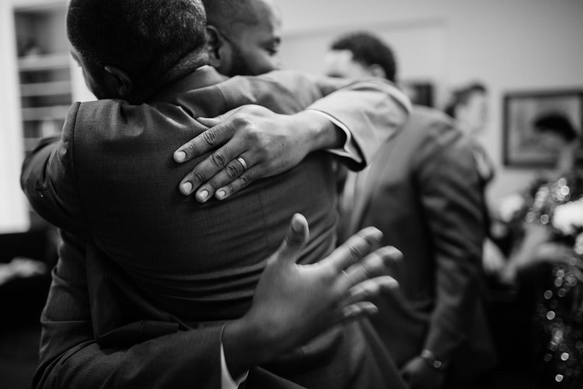 hugs after wedding ceremony