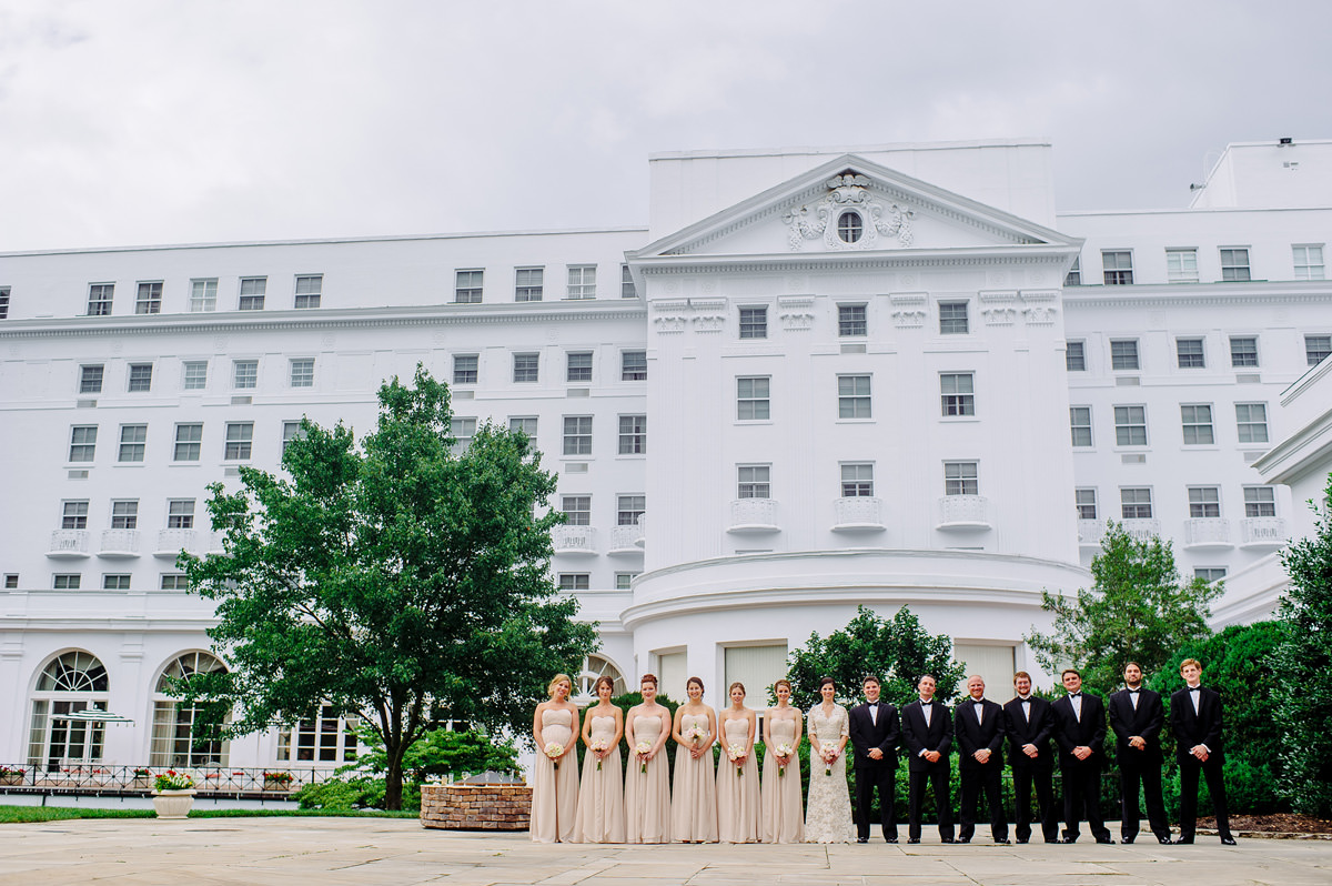 wedding party portraits at the greenbrier resort in west virginia