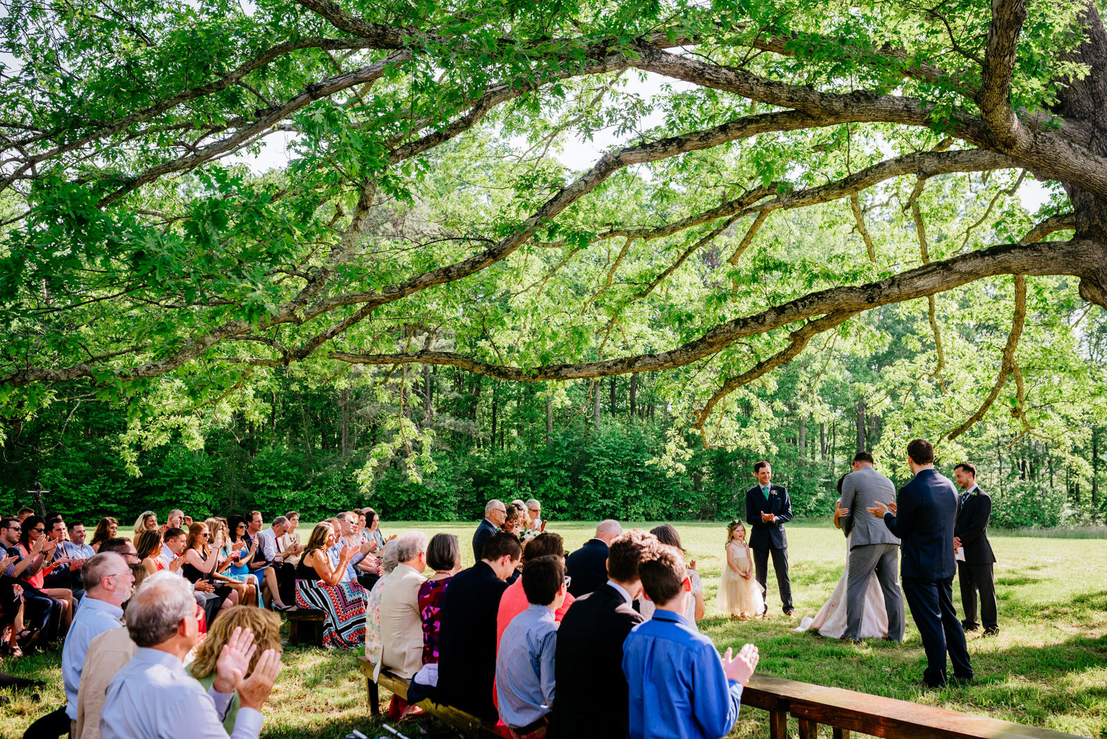 you may now kiss the bride ceremony under white oak tree gaines estate fayetteville wv wedding