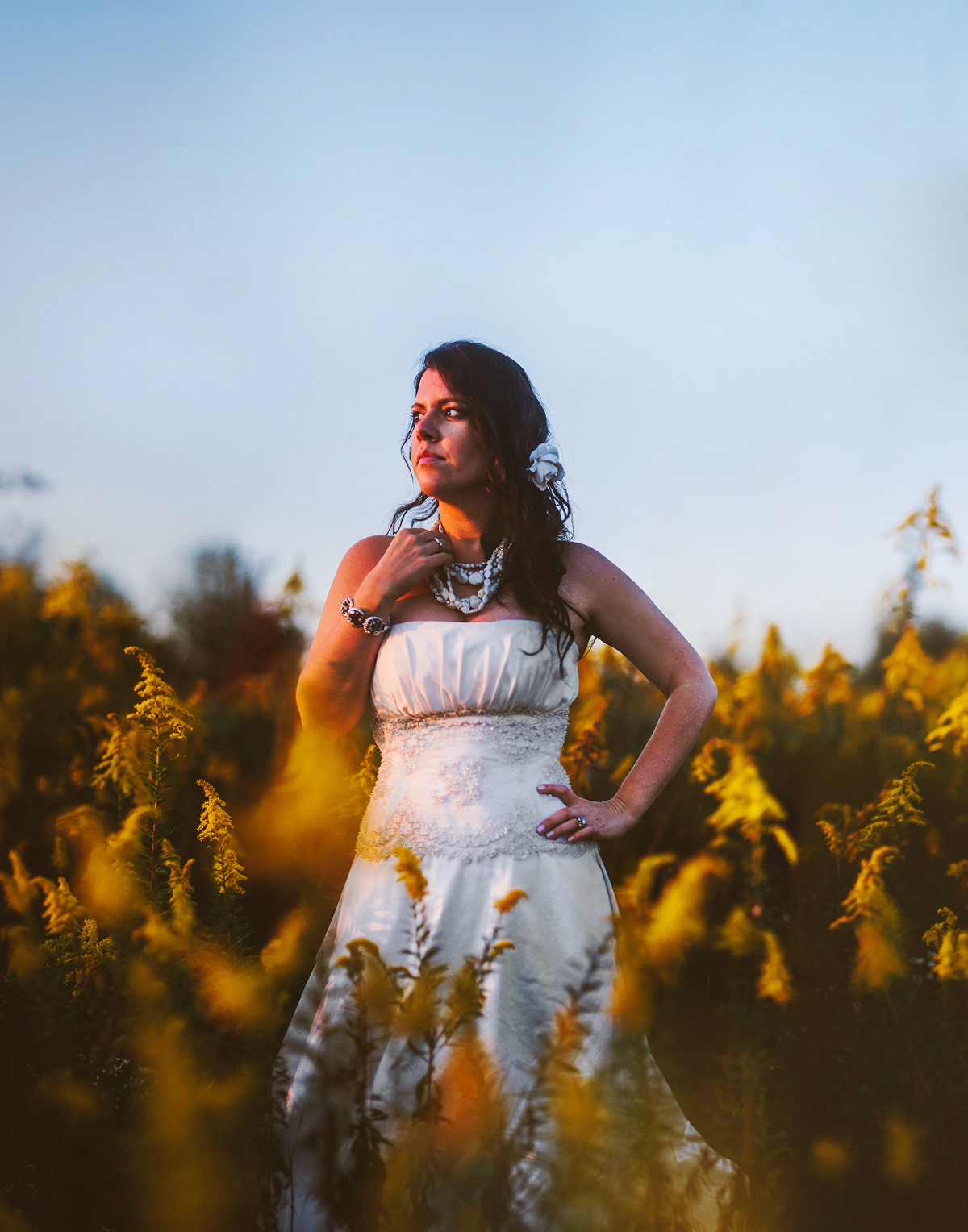 beautiful bridal portrait at sunset in pennsylvania