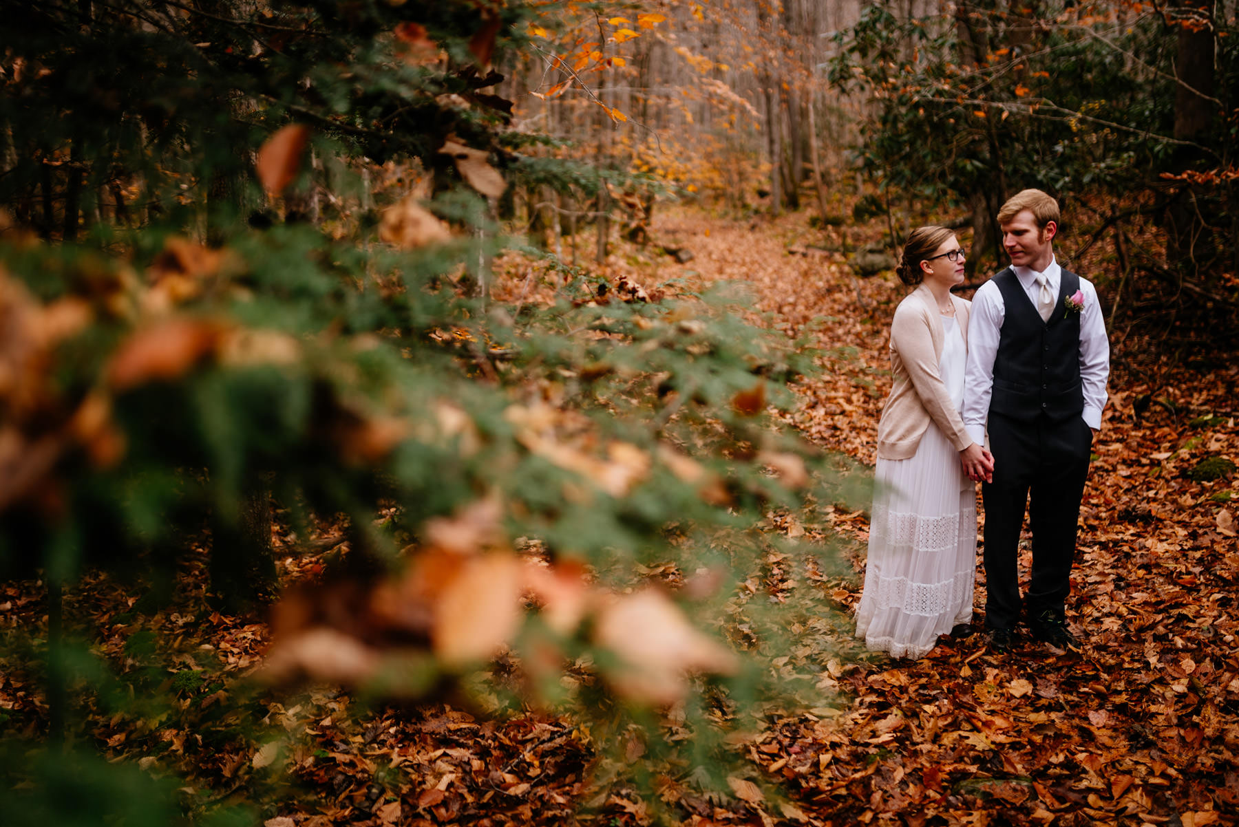 bride groom portraits just married glade springs west virginia in fall