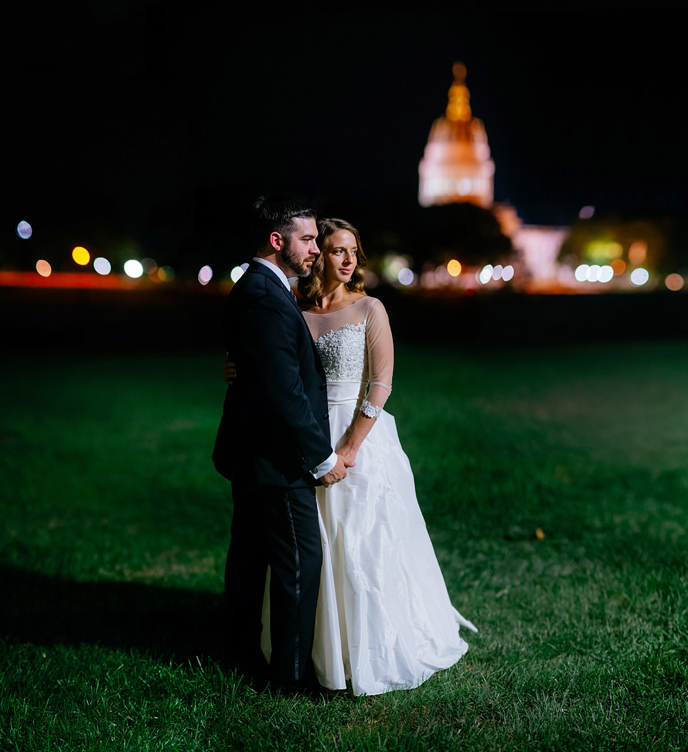 night bride and groom portraits on uc lawn charleston wv