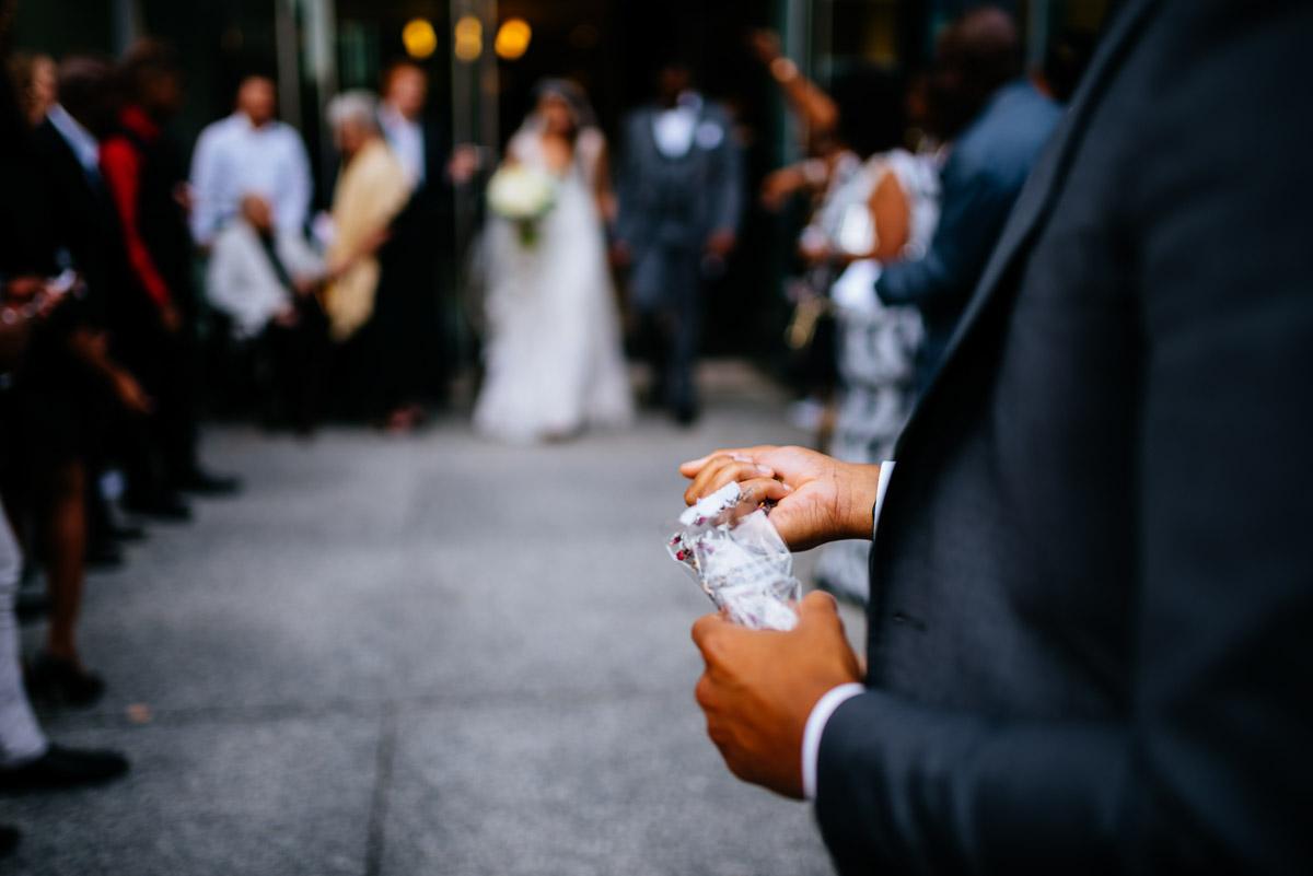 wedding ceremony flower toss