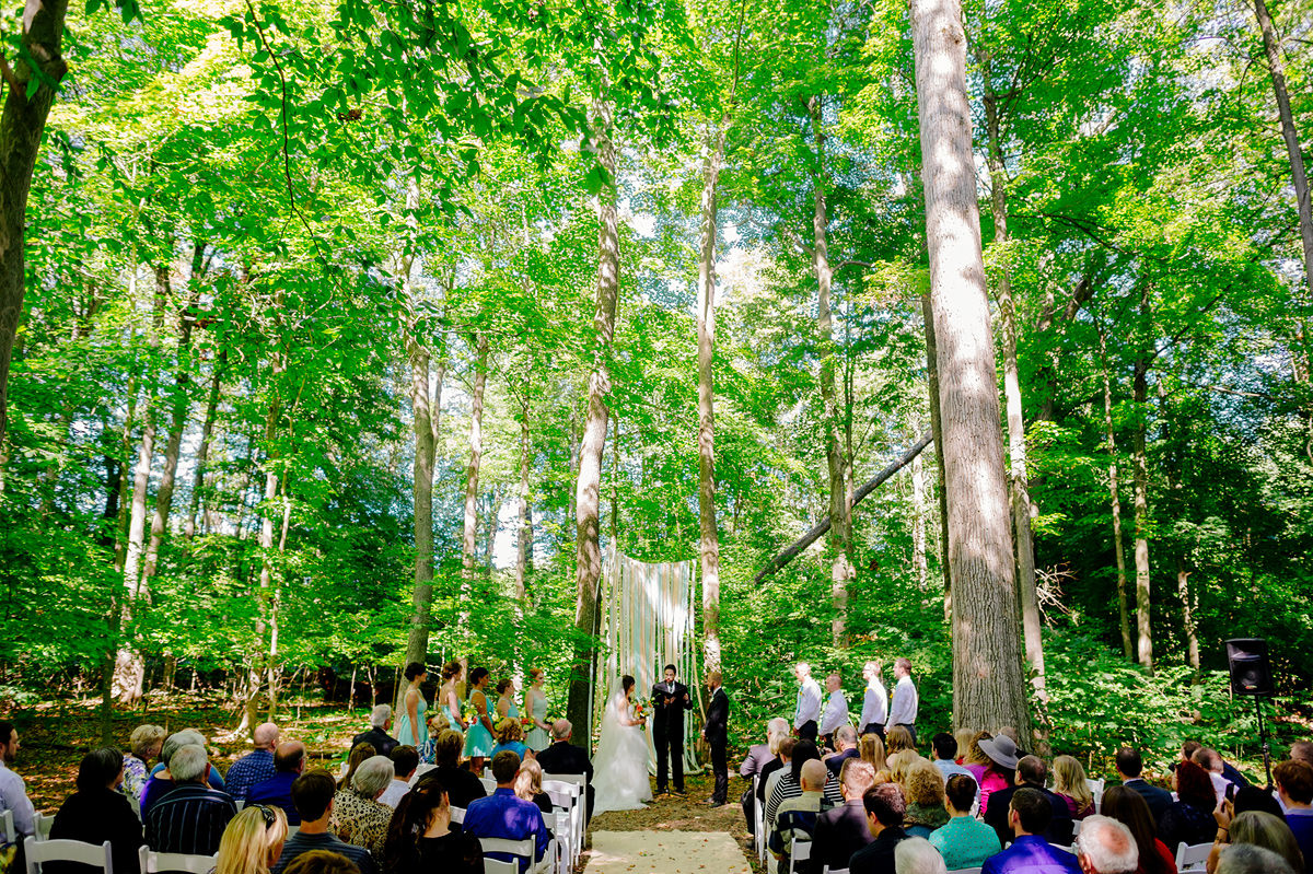 Outdoor Woods Wedding Ceremony: Elizabeth & Alex's Backyard Ohio Wedding • The Oberports