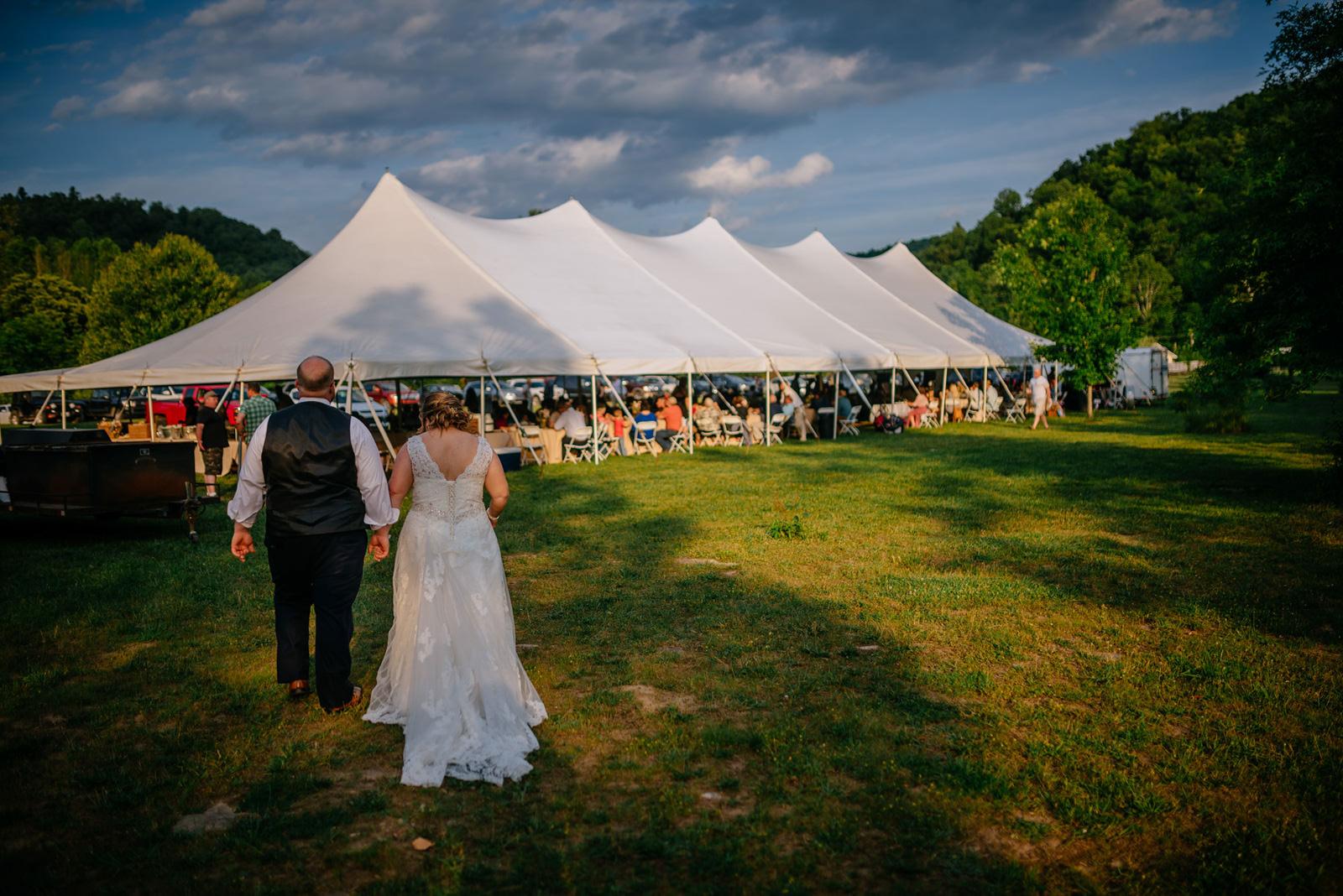 bride groom entering reception cheat river wedding