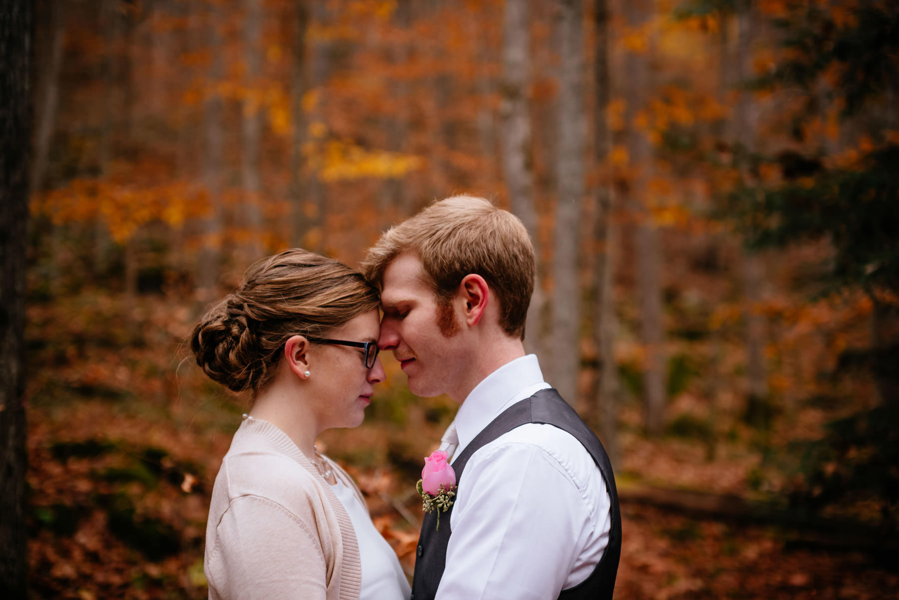fall outdoor wedding portrait