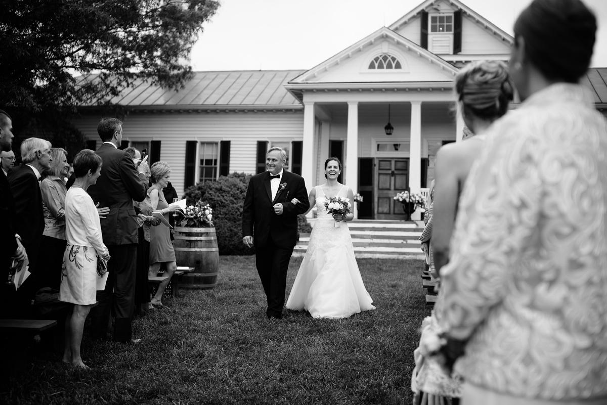 pharsalia virginia wedding bride walking down aisle