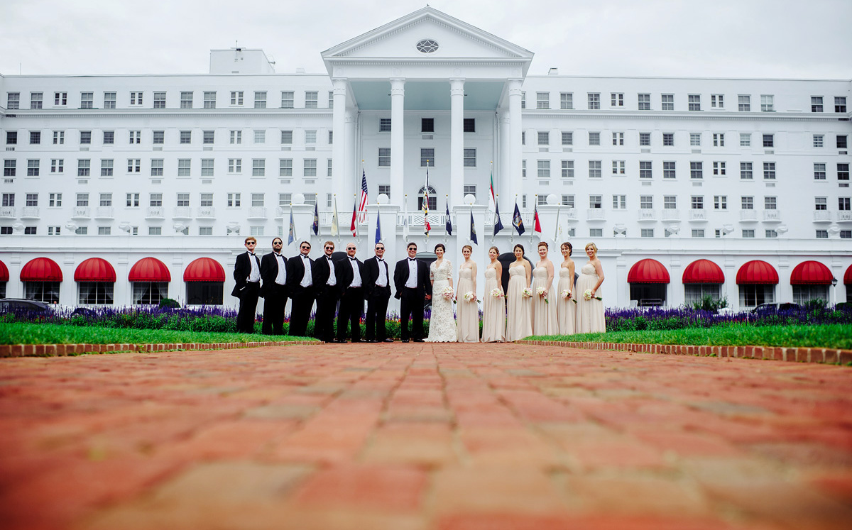 wedding party portraits at the greenbrier resort in west virginia by the oberports