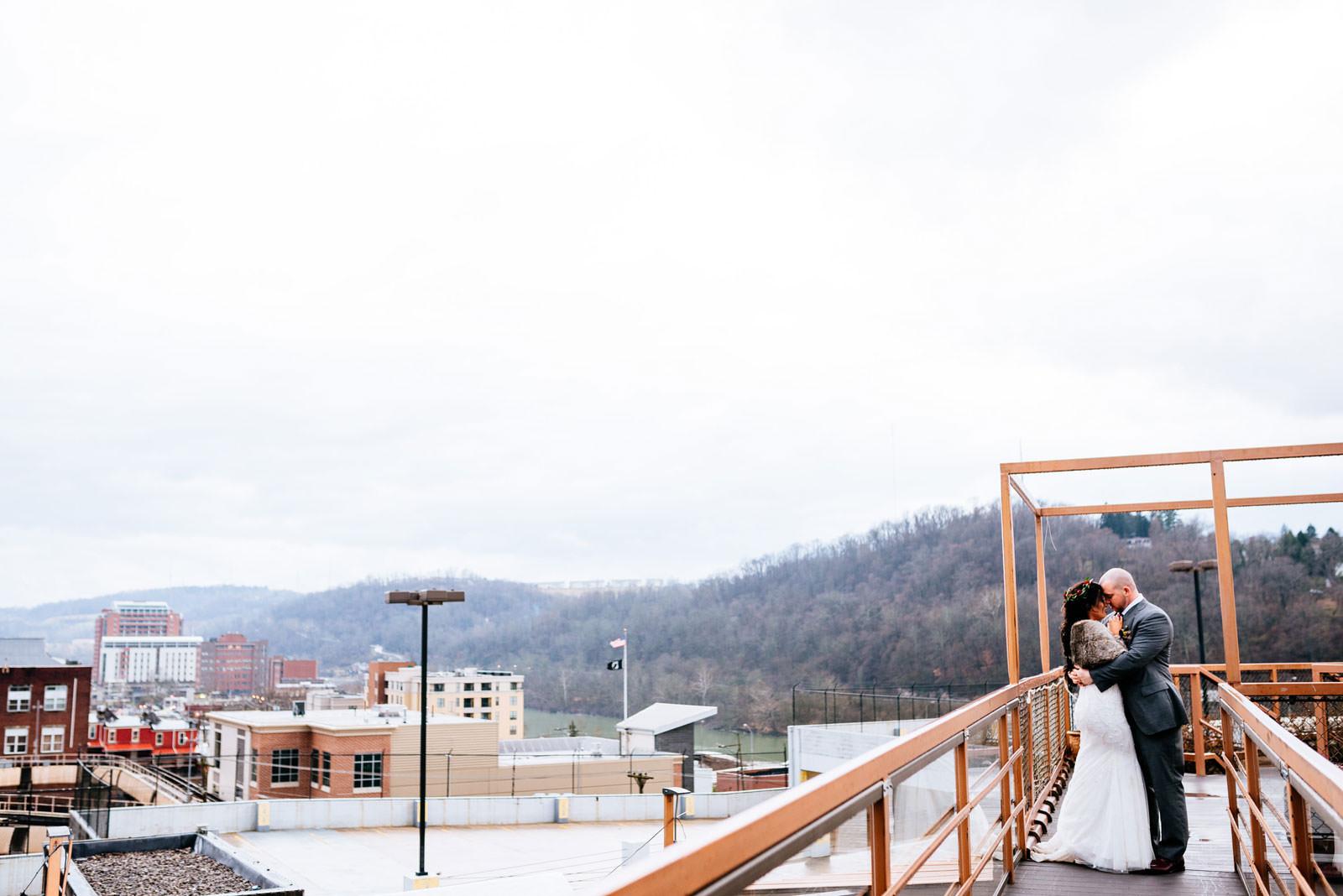wedding portrait on roof chestnut hotel morgantown wv
