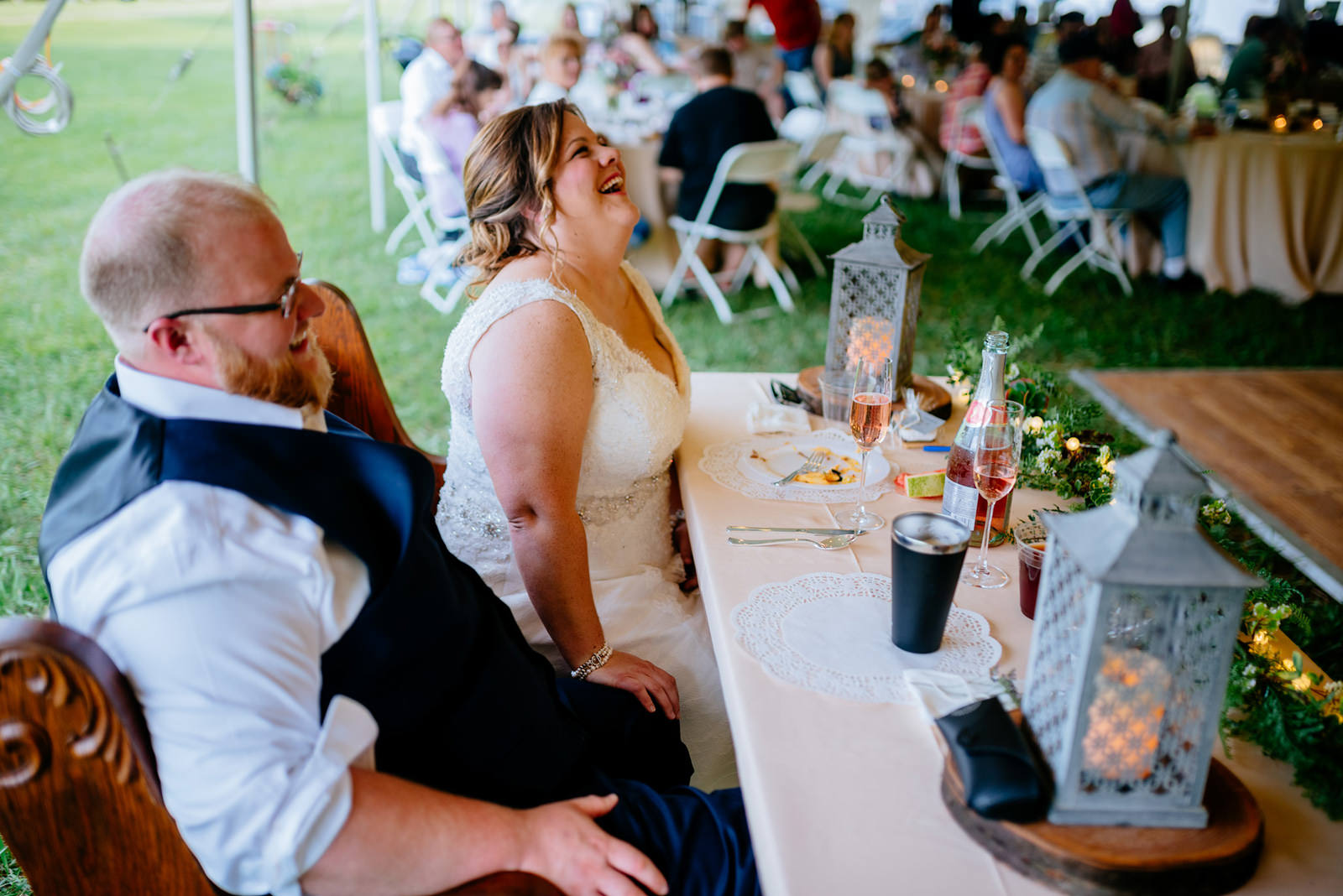 bride groom laughing reception toasts wv wedding