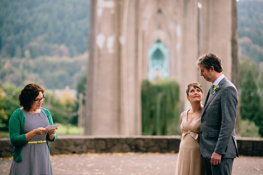 cathedral park portland wedding ceremony reading