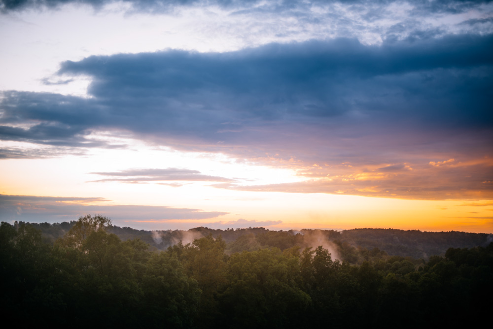 fog rolling mountains sunset west virginia