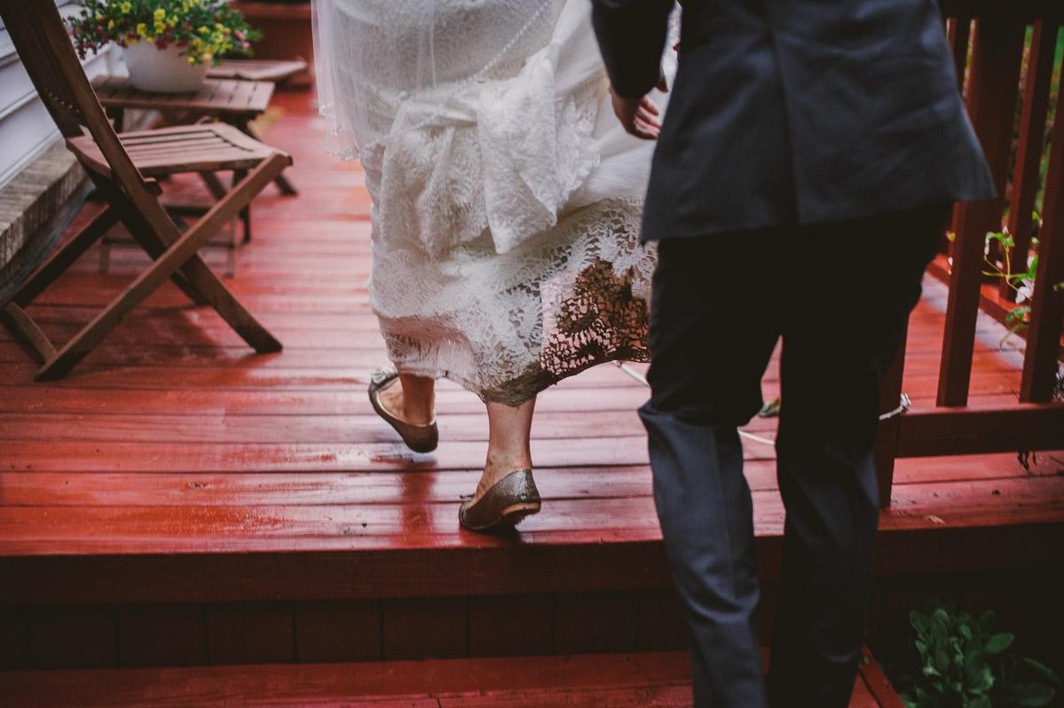 muddy wedding dress backyard wedding