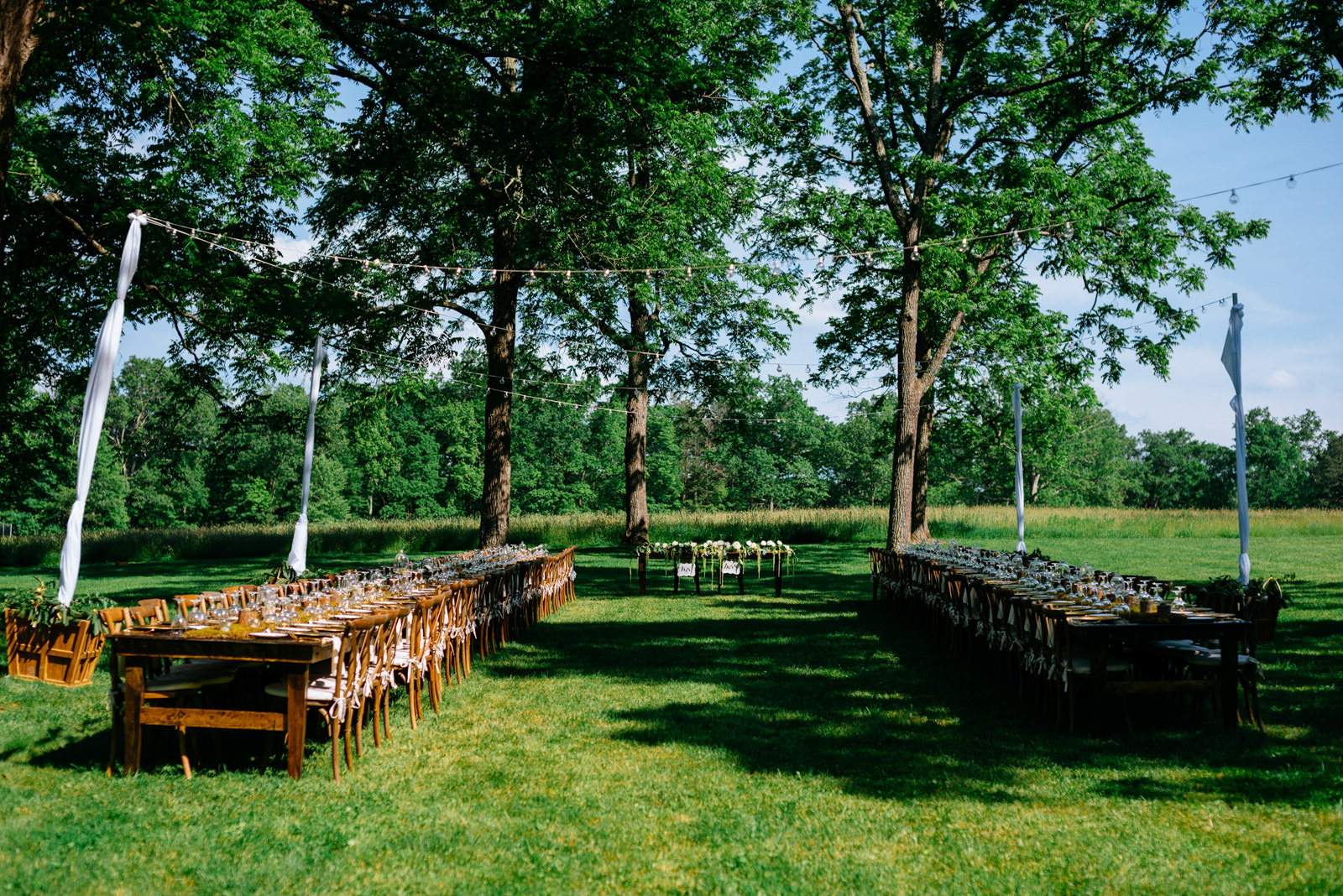 outdoor wedding reception details long tables gaines estate fayetteville wv wedding