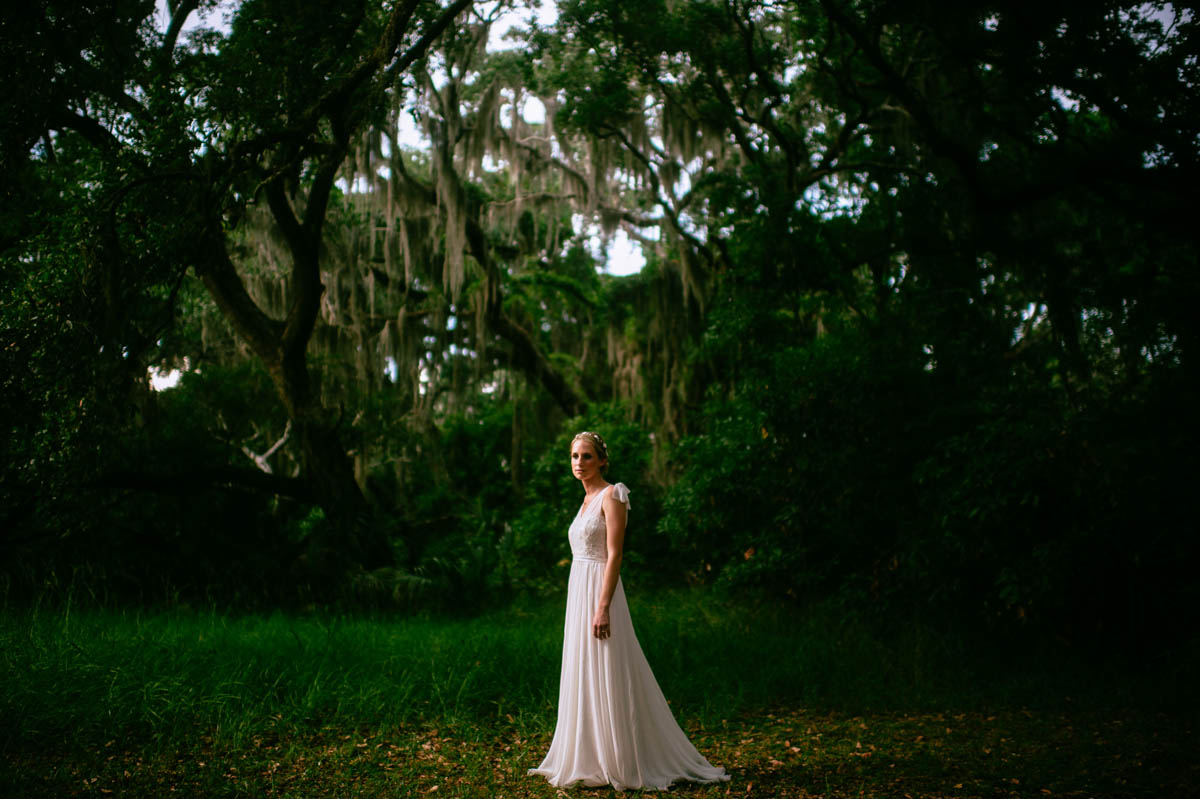 epic bridal portrait with spanish moss