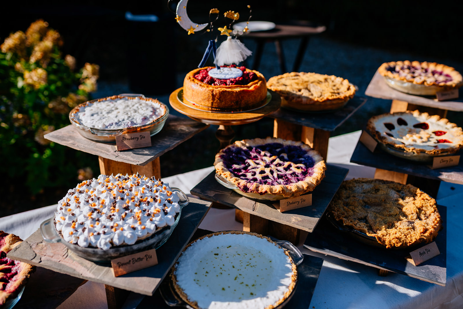 homemade pies at wedding