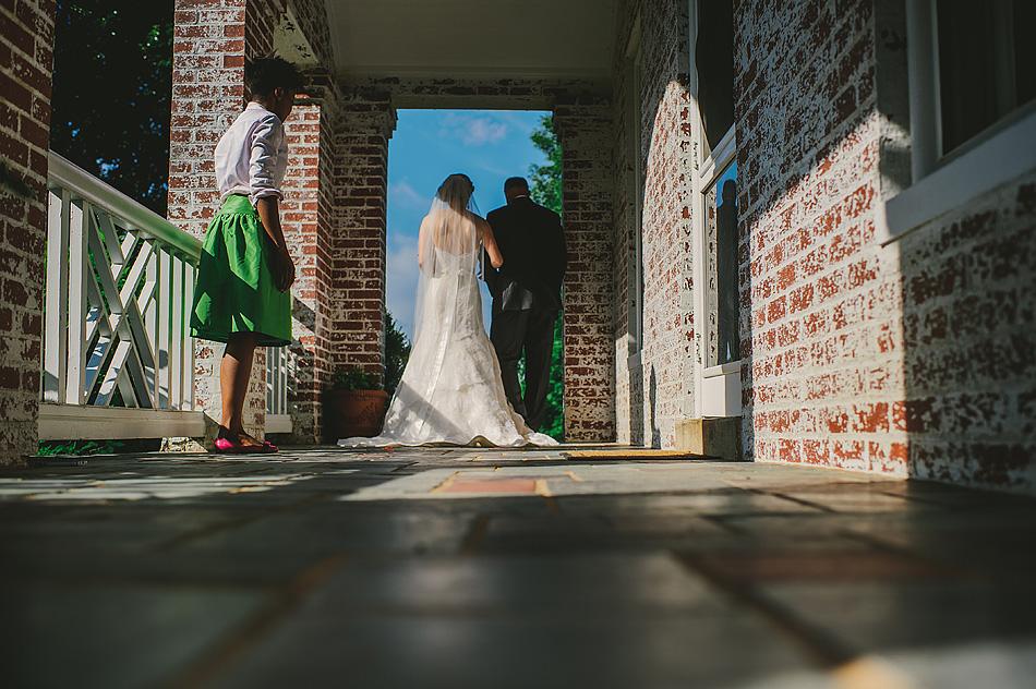 summer outdoor wedding ceremony bride processional