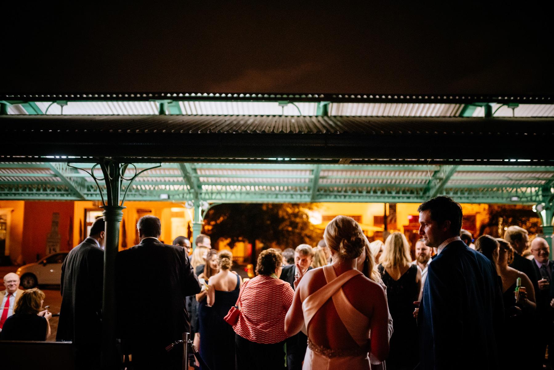 cocktail hour at eastern market dc wedding