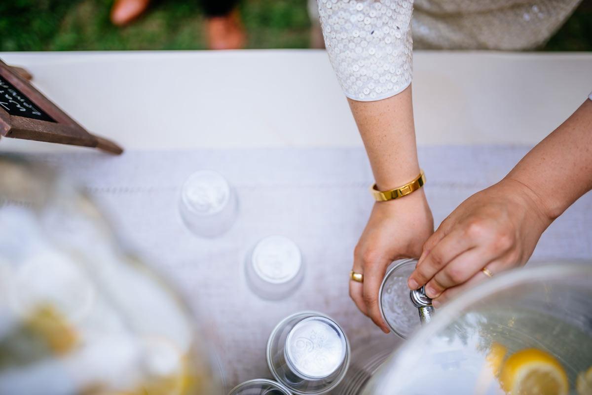 summertime wedding hydration