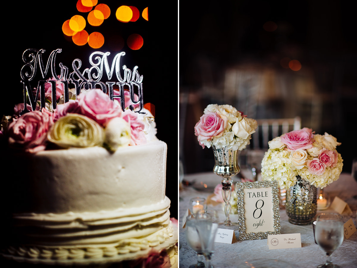 wedding cake and centerpieces