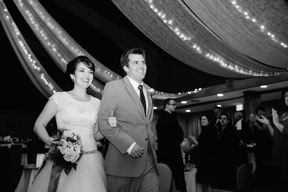 bride groom entering reception oglebay glessner ballroom