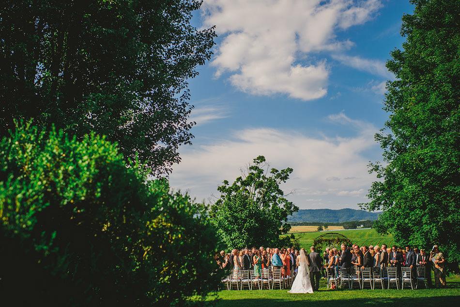 outdoor summer farm wedding ceremony in appalachia