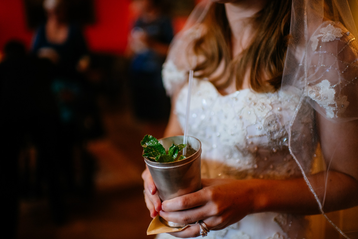 bride with classic greenbrier resort mint julep