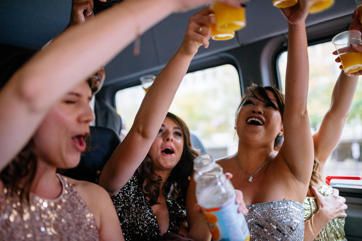 shots in the limosine wedding party