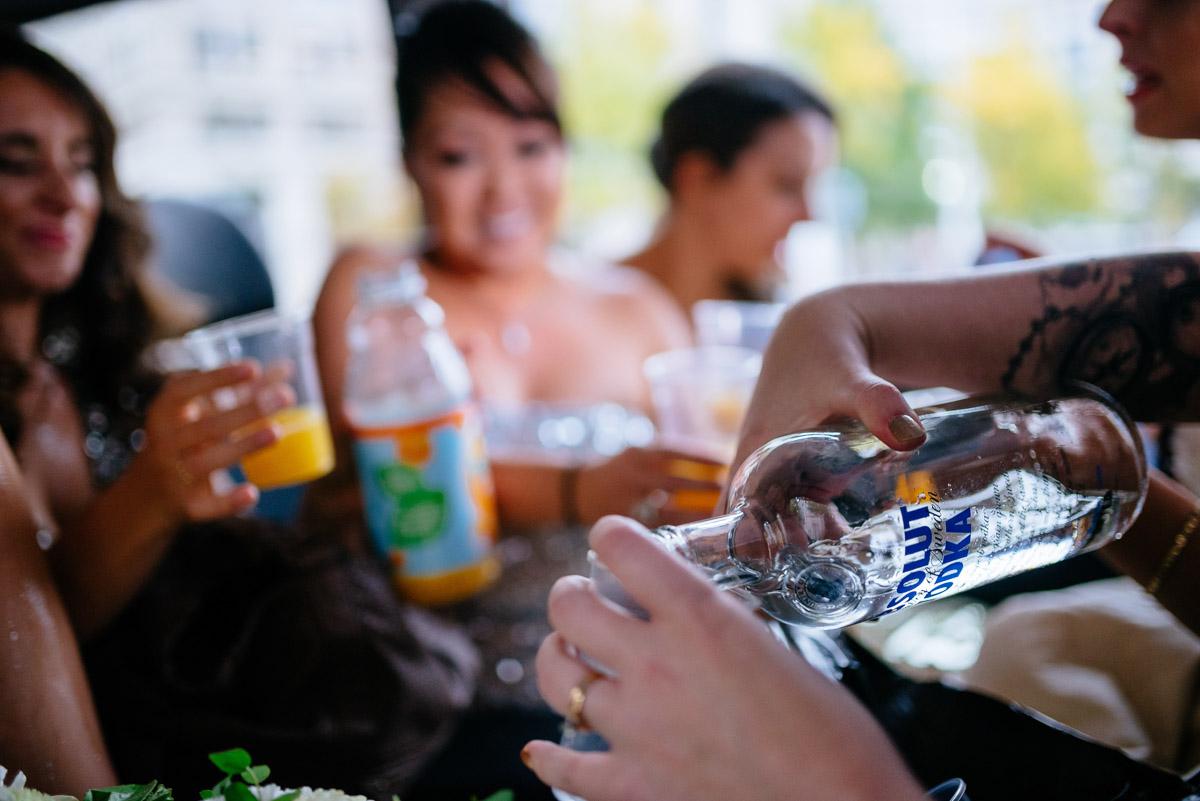 shots in the shuttle wedding party vodka