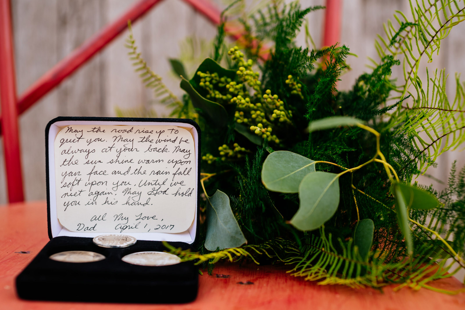 father gift and note to bride daughter wedding details