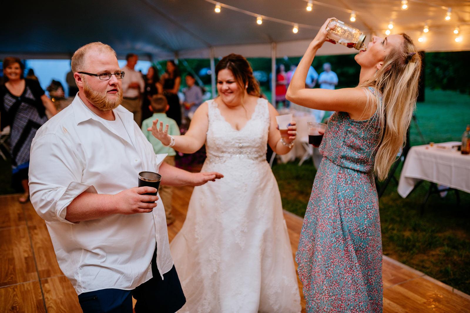 bride groom getting turnt