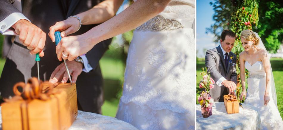outdoor farm wedding ceremony wine box