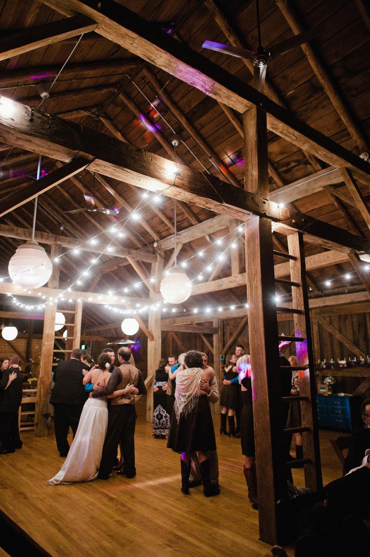the barn at fallingwater wedding reception