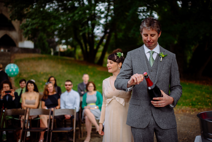 bride groom champagne open ceremony
