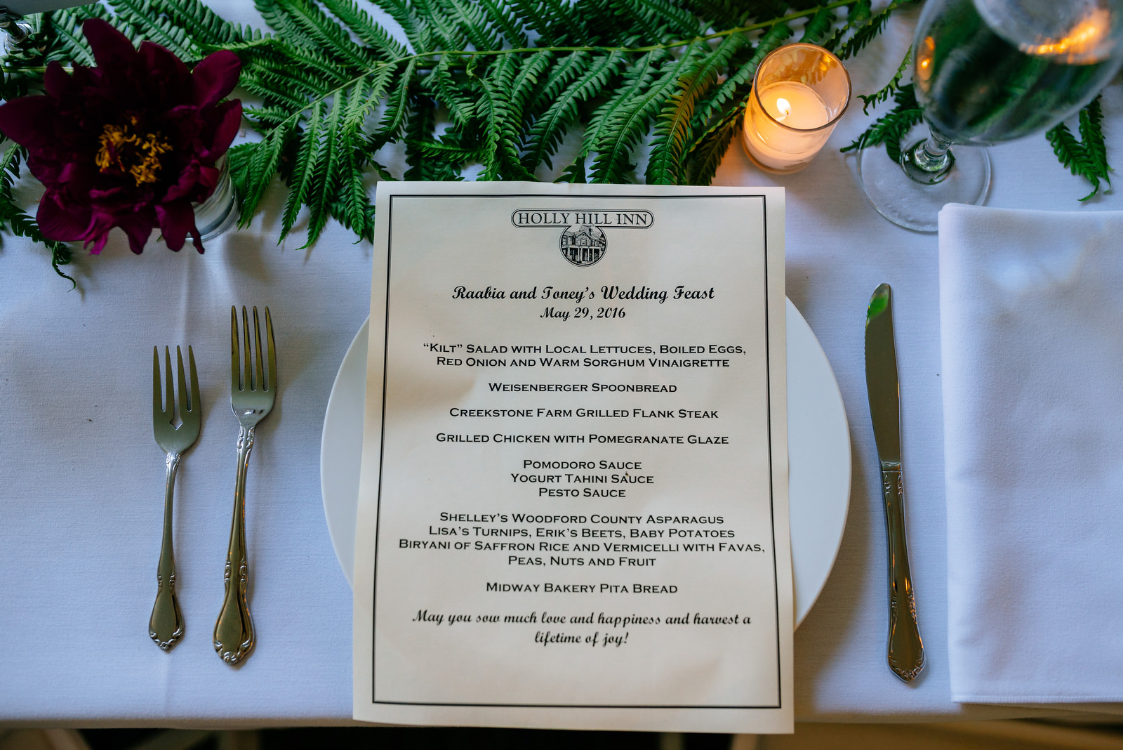 wedding dinner menu holly hill inn wedding lexington ky