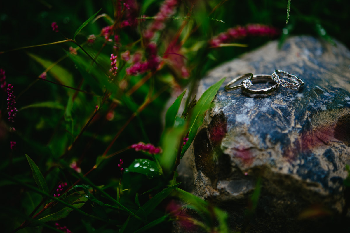 wedding rings on rocks flowers