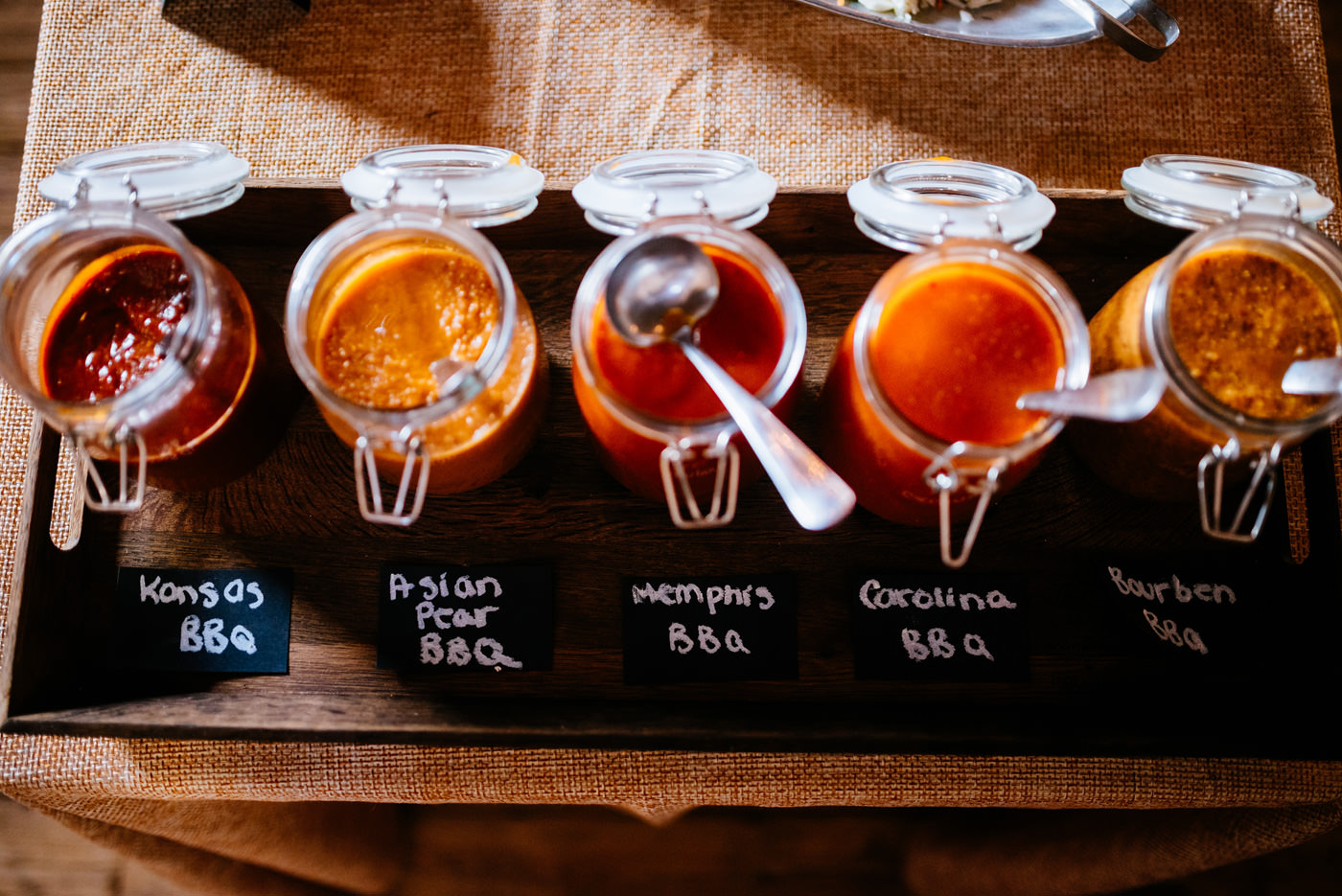 bbq sauce options at wv wedding reception