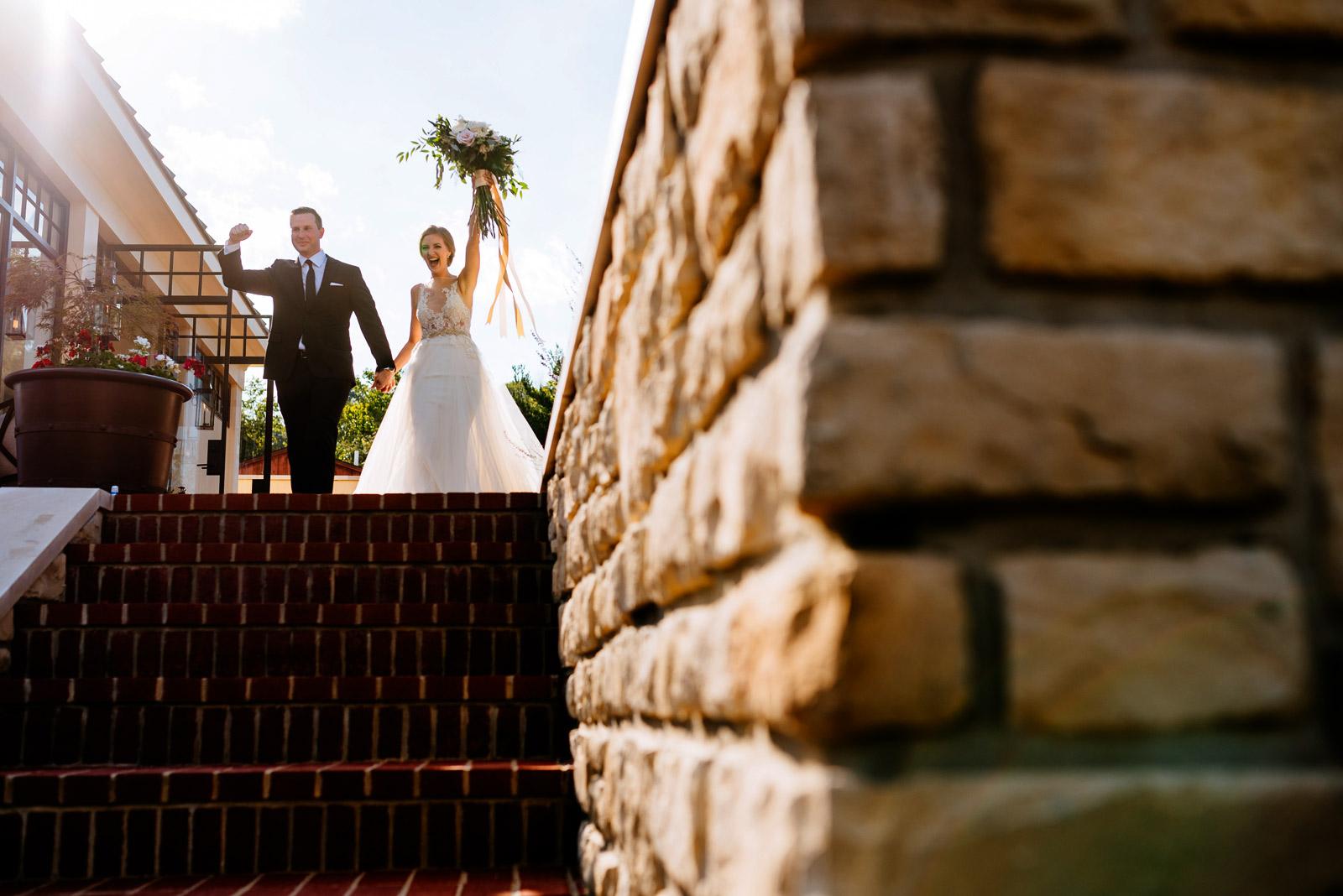 bride groom entering reception