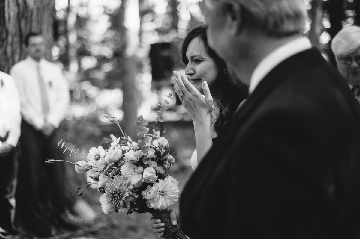 emotional bride with dad