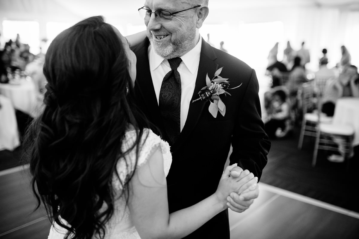 father daughter dance at marriott pavilion wedding reception wv
