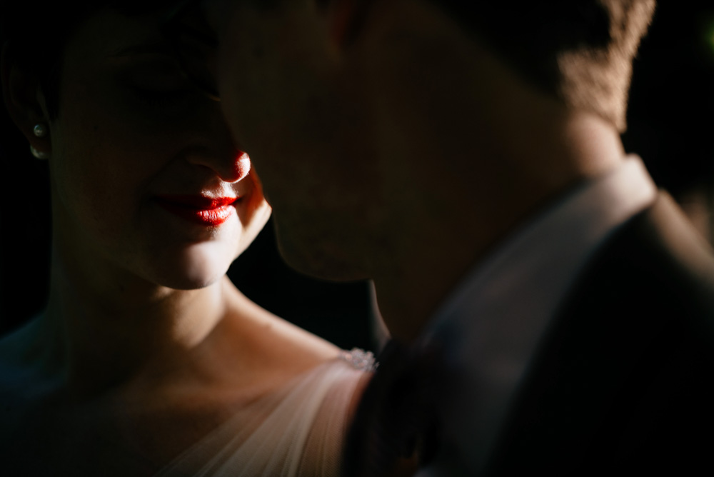 moody bride and groom portrait
