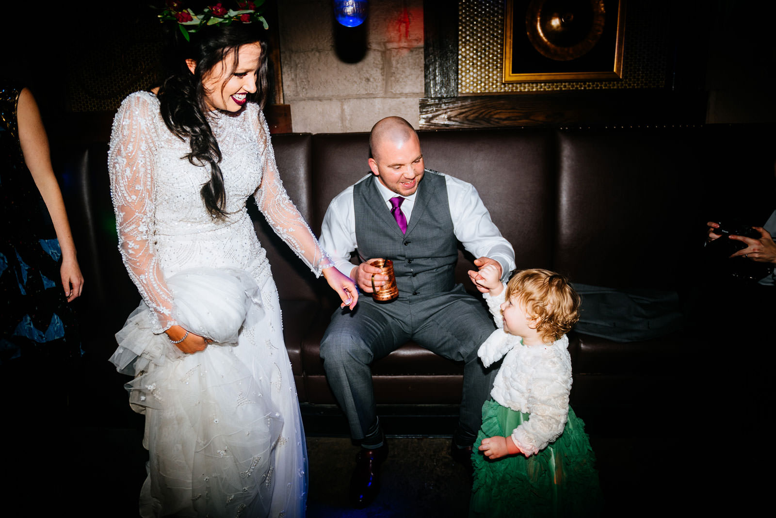 bride groomwith daughter during wedding reception rocktop bar morgantown wv