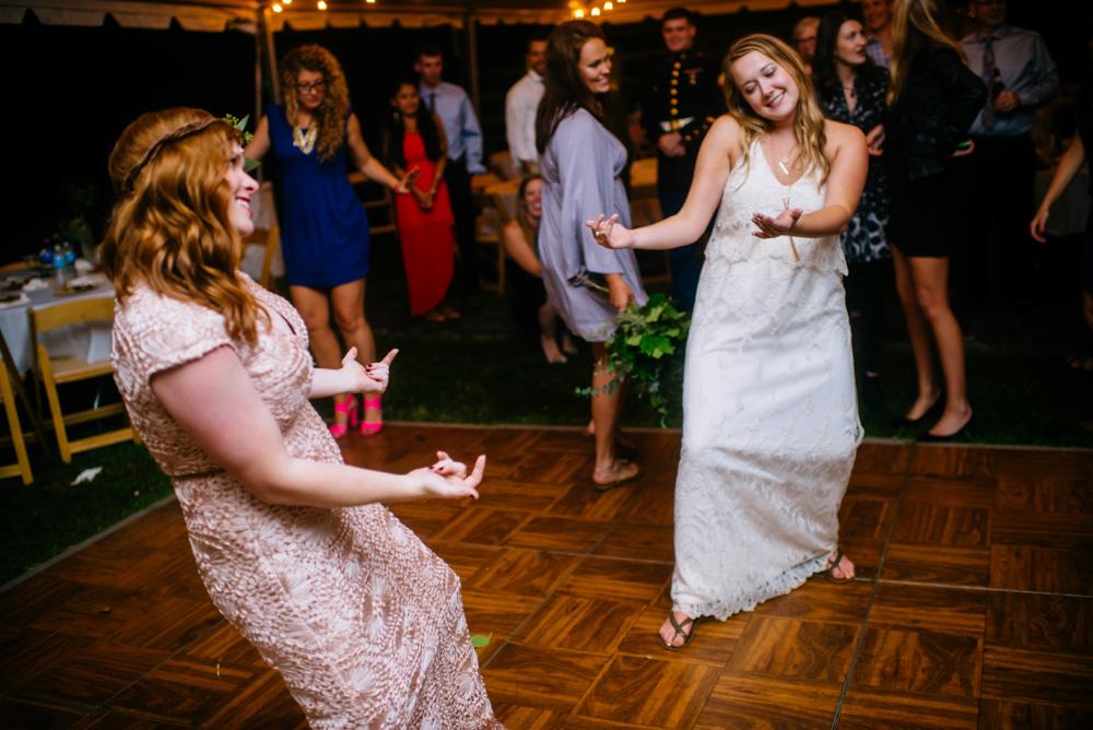 bridesmaid dancing west virginia wedding reception