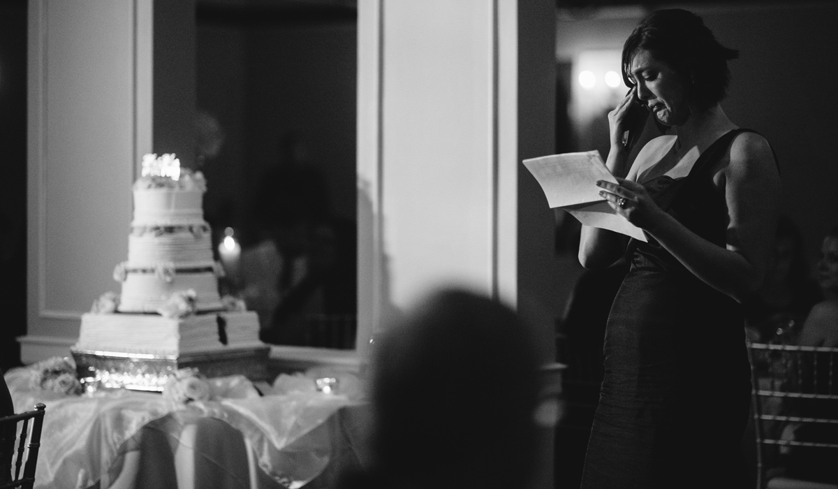 emotional toast at wedding