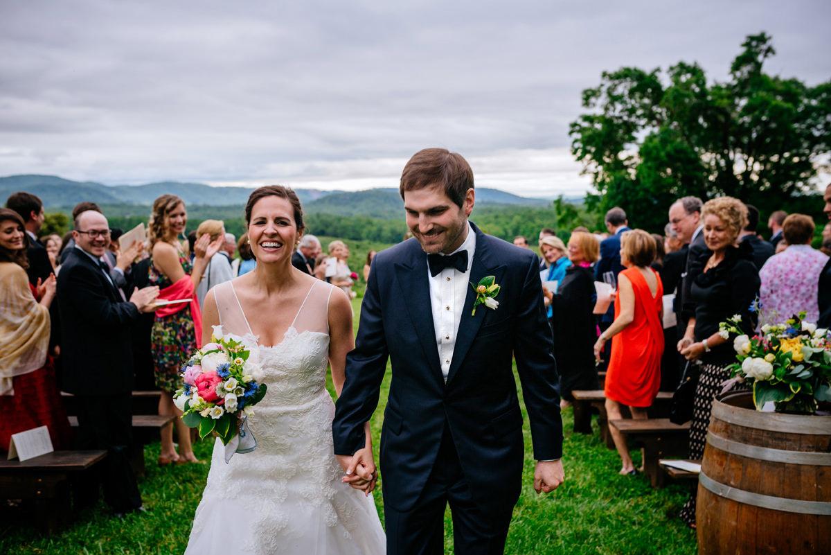 pharsalia virginia wedding ceremony happy bride and groom