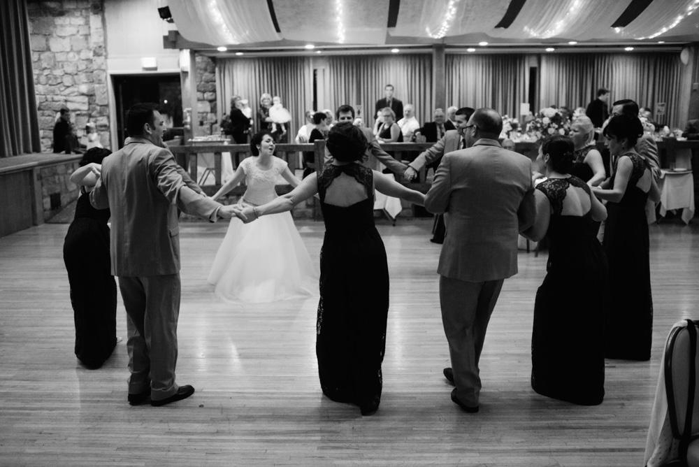 wedding party dancing during reception at oglebay