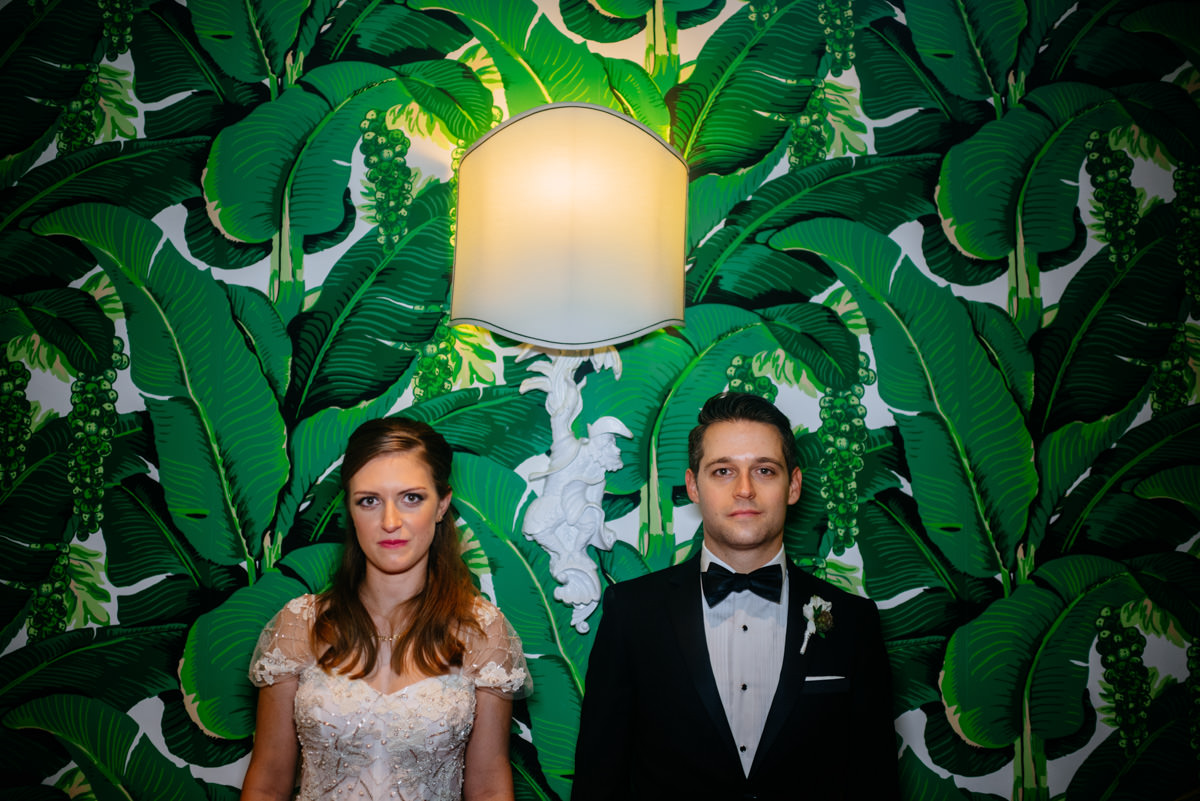 bride and groom portrait at the greenbrier dorothy draper wallpaper